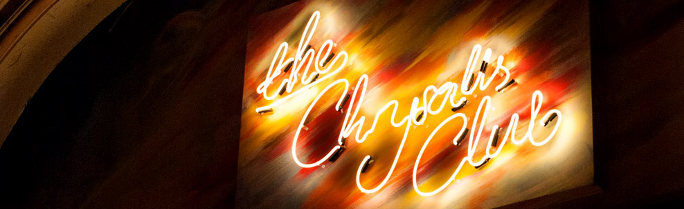 Neon light sign The Chrysalis club white
