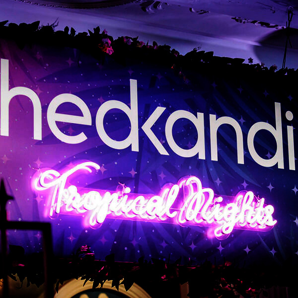 Faux neon sign handwriting pink Tropical Nights