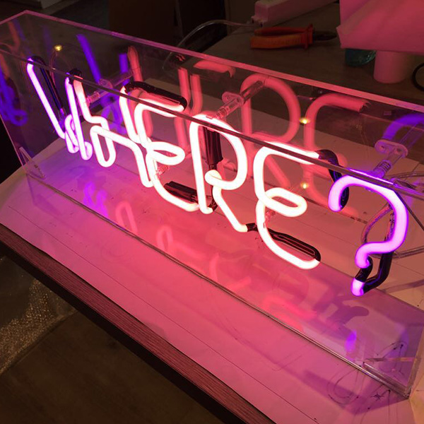 Neon light sign pink where
