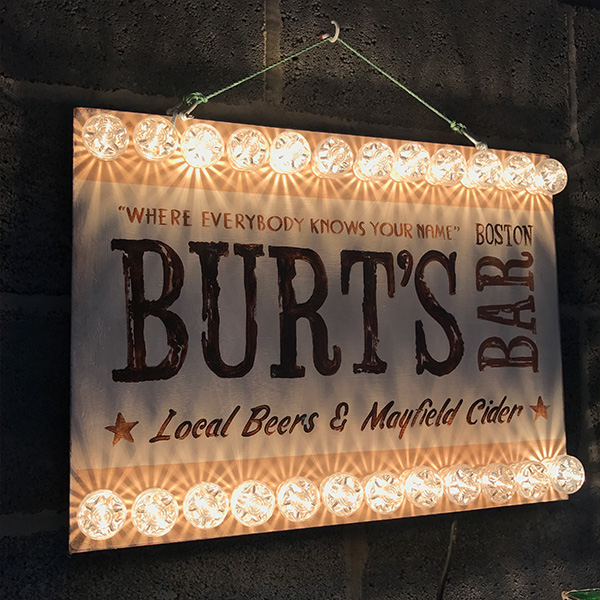 Fairground neon light Burts bar white