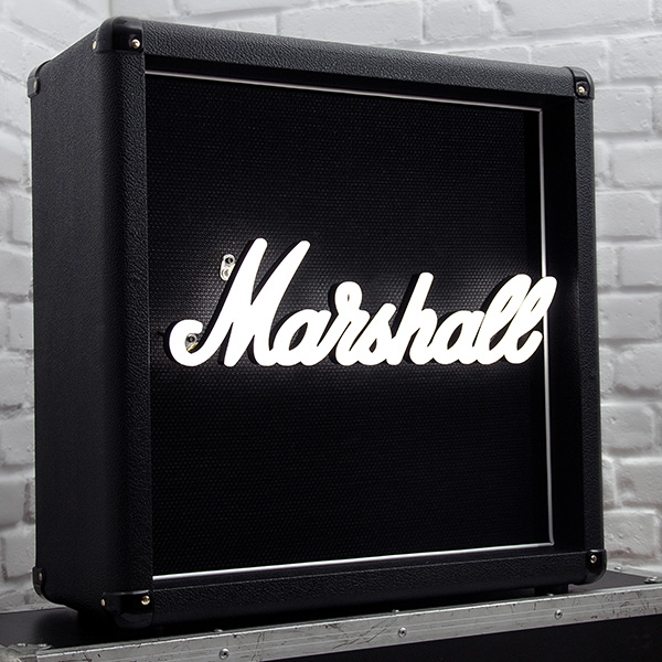 Faux neon set design neon writing Marshall white