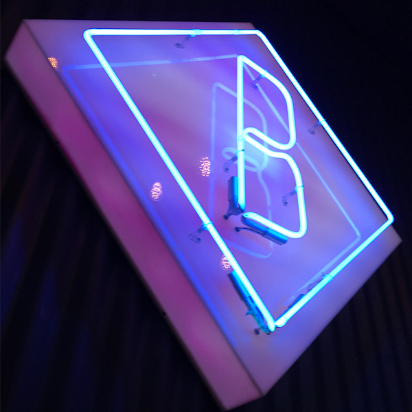 Neon light sign blue square