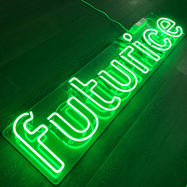 Neon light sign green futurice