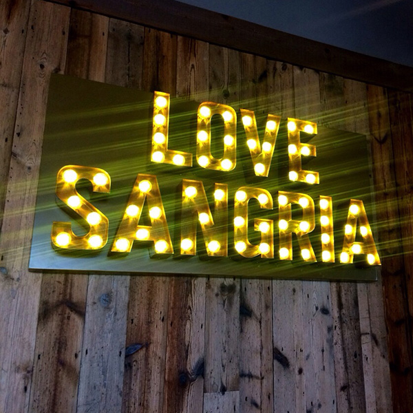 Neon Bar signs Love Sangria yellow