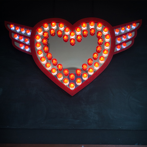 Fairground light signs vintage heart red