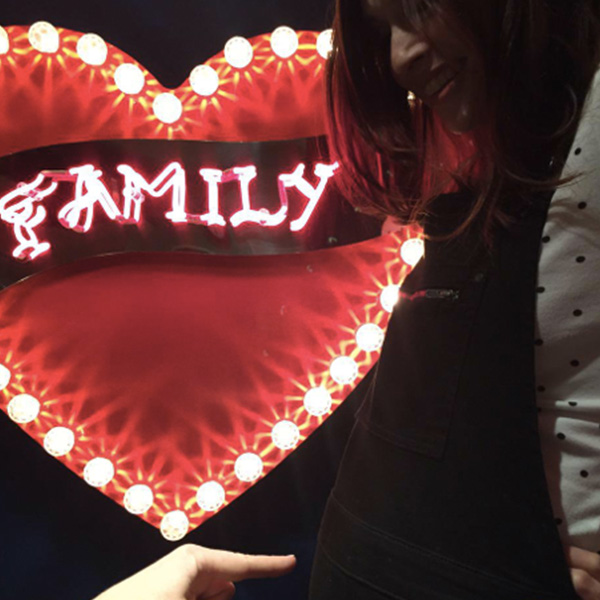 Fairground light vintage heart family