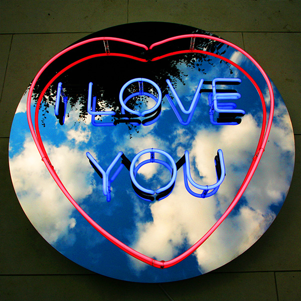 Neon light shape heart I love you red blue