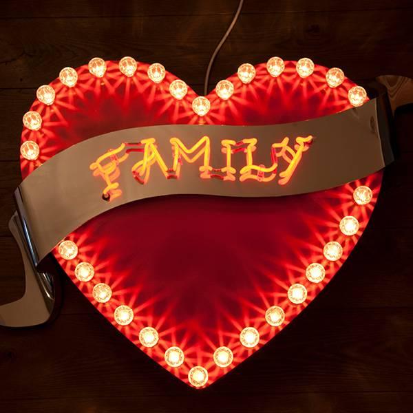 Fairground light vintage heart family