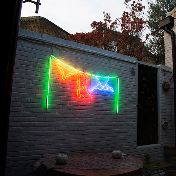 Neon light washing line green red blue