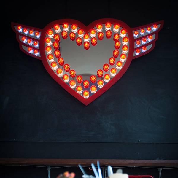 Fairground light signs vintage heart red