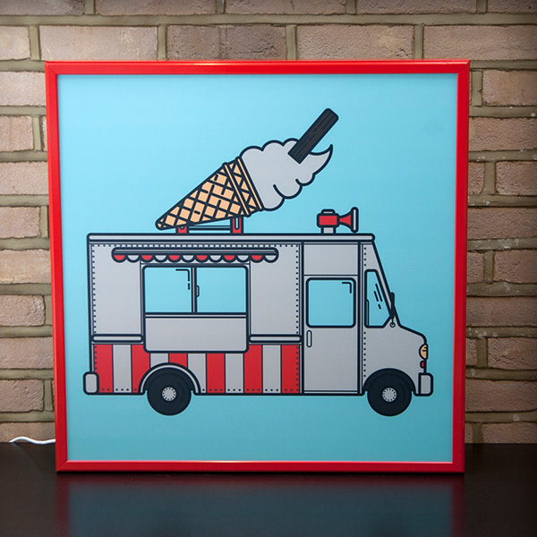 Lightbox ice cream van vintage