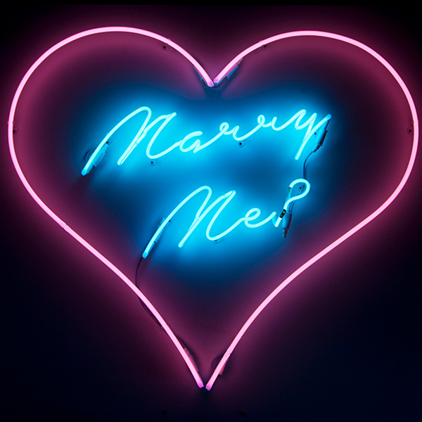 Neon sign pink blue Marry Me