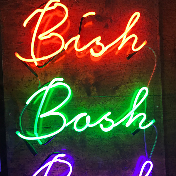 Neon light writing Bish bash bosh red green blue