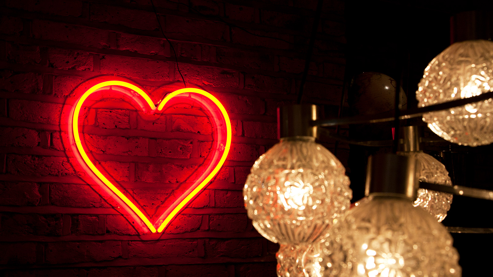 Faux neon sign red heart
