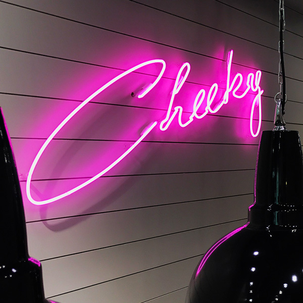 neon light luminous pink cheeky