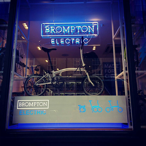 Neon light sign blue Brompton Electric