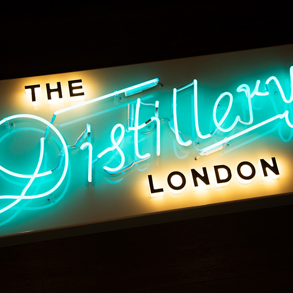 Neon light sign vintage The Distillery London