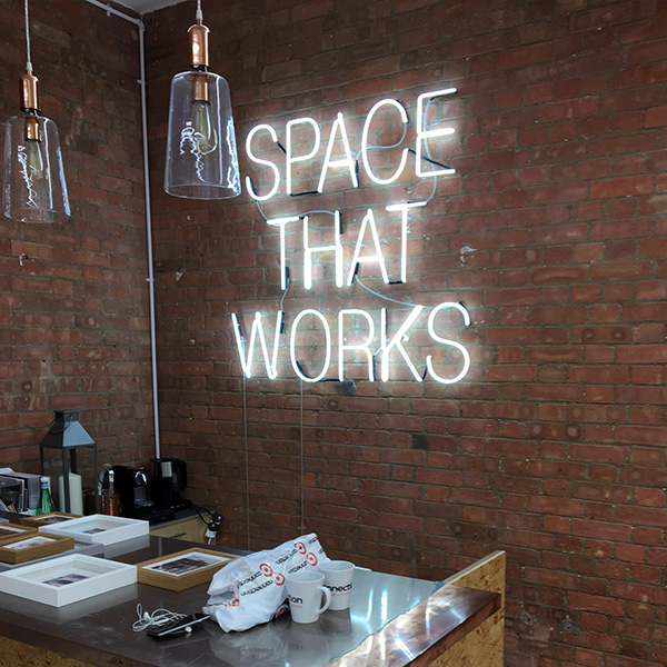 Neon light sign white space that works