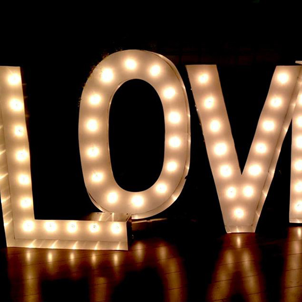Neon light large letters Love white