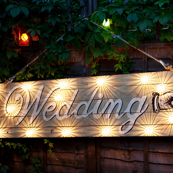 Neon wedding light white vintage
