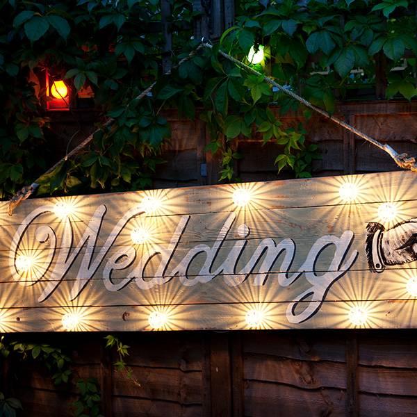 Neon wedding light white vintage