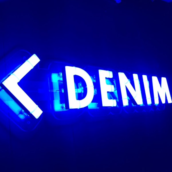 Faux Neon sign blue Denim