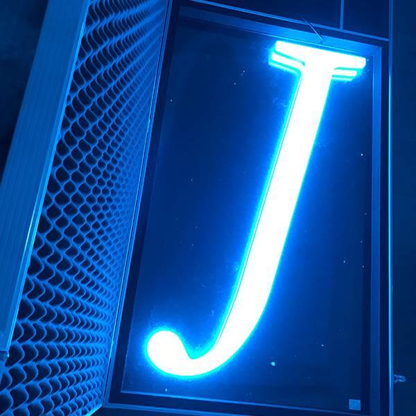 Ultra neon lettering J blue