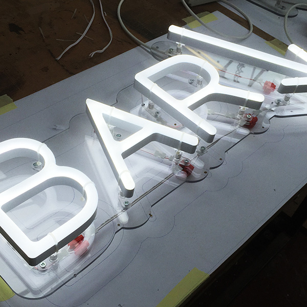 Faux Neon sign white Bar