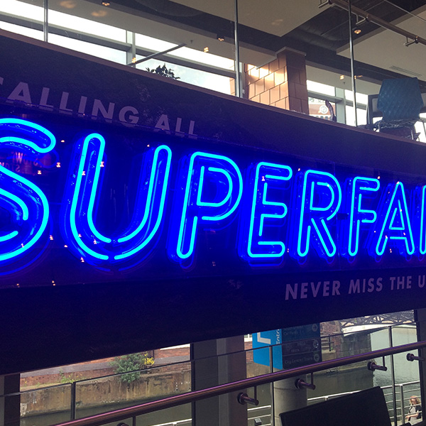 Neon Ultra sign faux neon blue Superfan