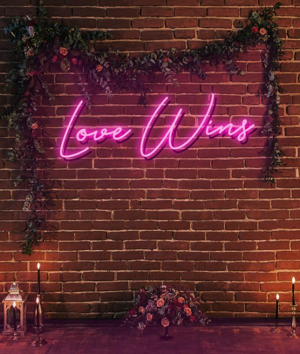 love wins neon sign